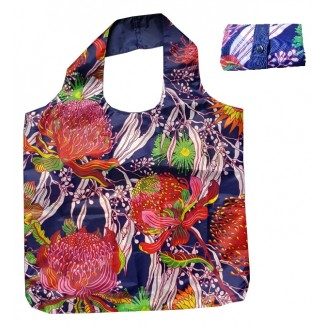 Fold-Up Bag - Australian Wildflowers - Blue