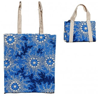 Hogarth | Arts - Cotton -Fold-up Tote Bag - Waterhole Dreaming