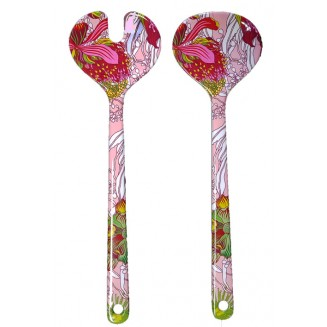2 Piece Salad Server Set - Australian Wildflowers - Pink
