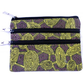 Yijan Aboriginal Art - 3Z Cosmetic Bag - Women's Travelling Dreaming Gold -  6 Gold