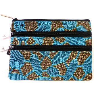 Yijan Aboriginal Art - 3Z Cosmetic Bag -  Women's Travelling Dreaming Turquoise -  6 Turq