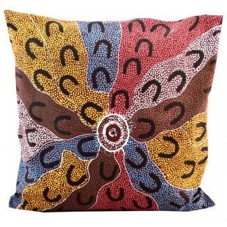 Yijan Aboriginal Art - Cushion Cover - Crow Women Dreaming - 5