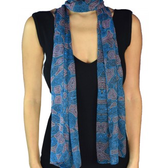 Yijan Aboriginal Art - Scarf - Women -6Turq